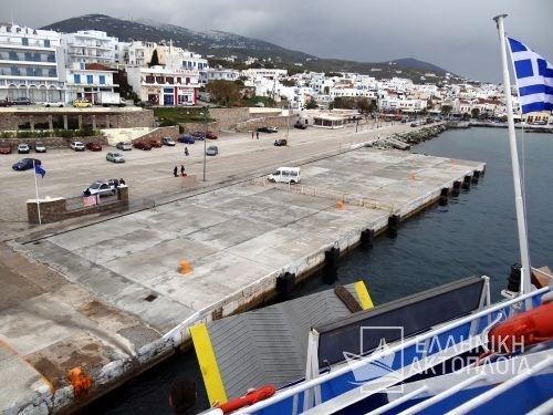 departure from the port of Tinos