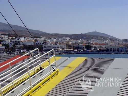 arrival at the port of Tinos